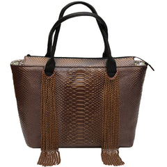 Chain Copper Leather Tote
