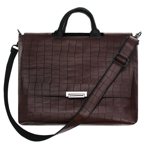 Burgundy Croco Messenger Bag