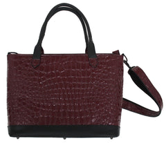 Burgundy Patent Croco Work Tote