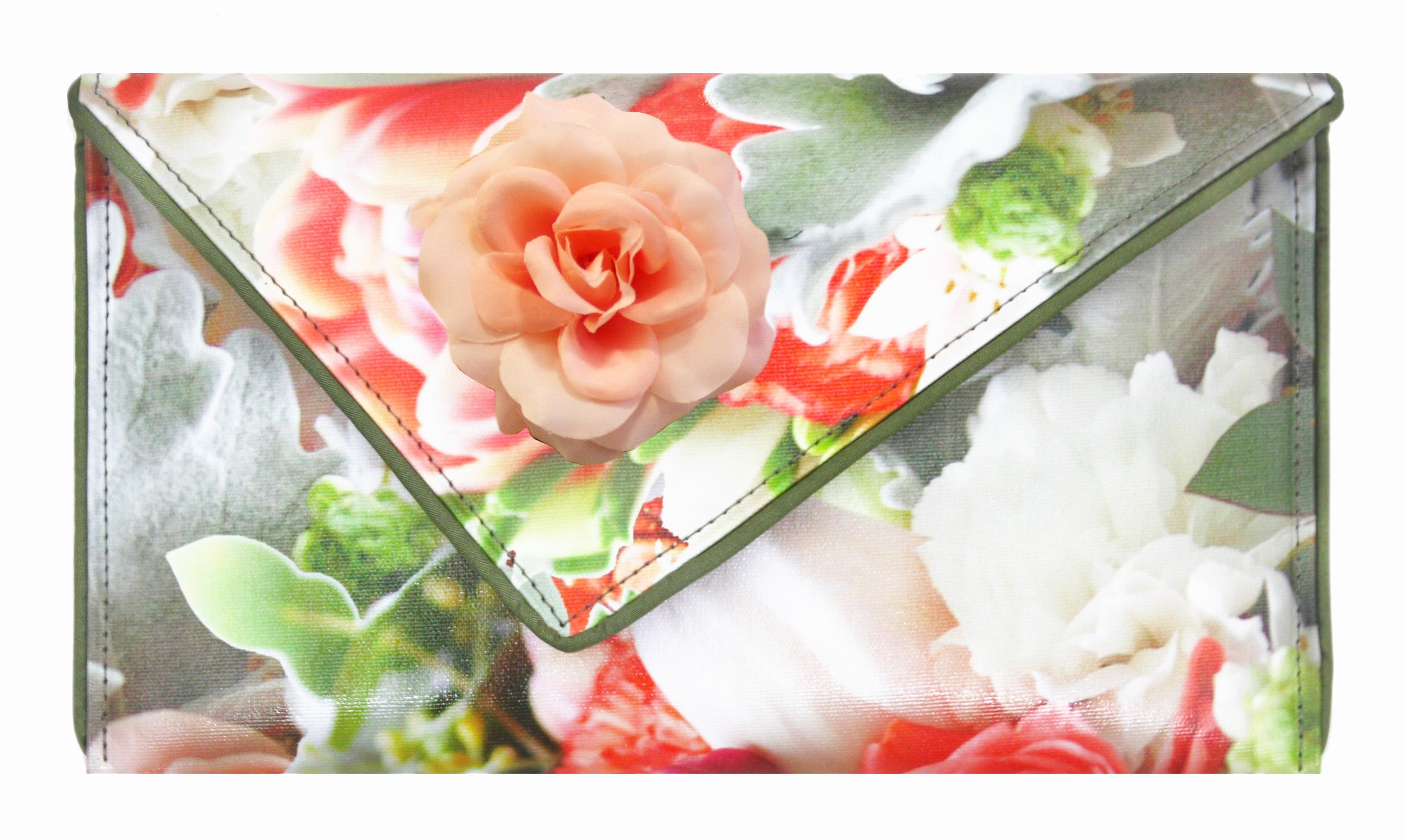 Coral Rose Bouquet Clutch