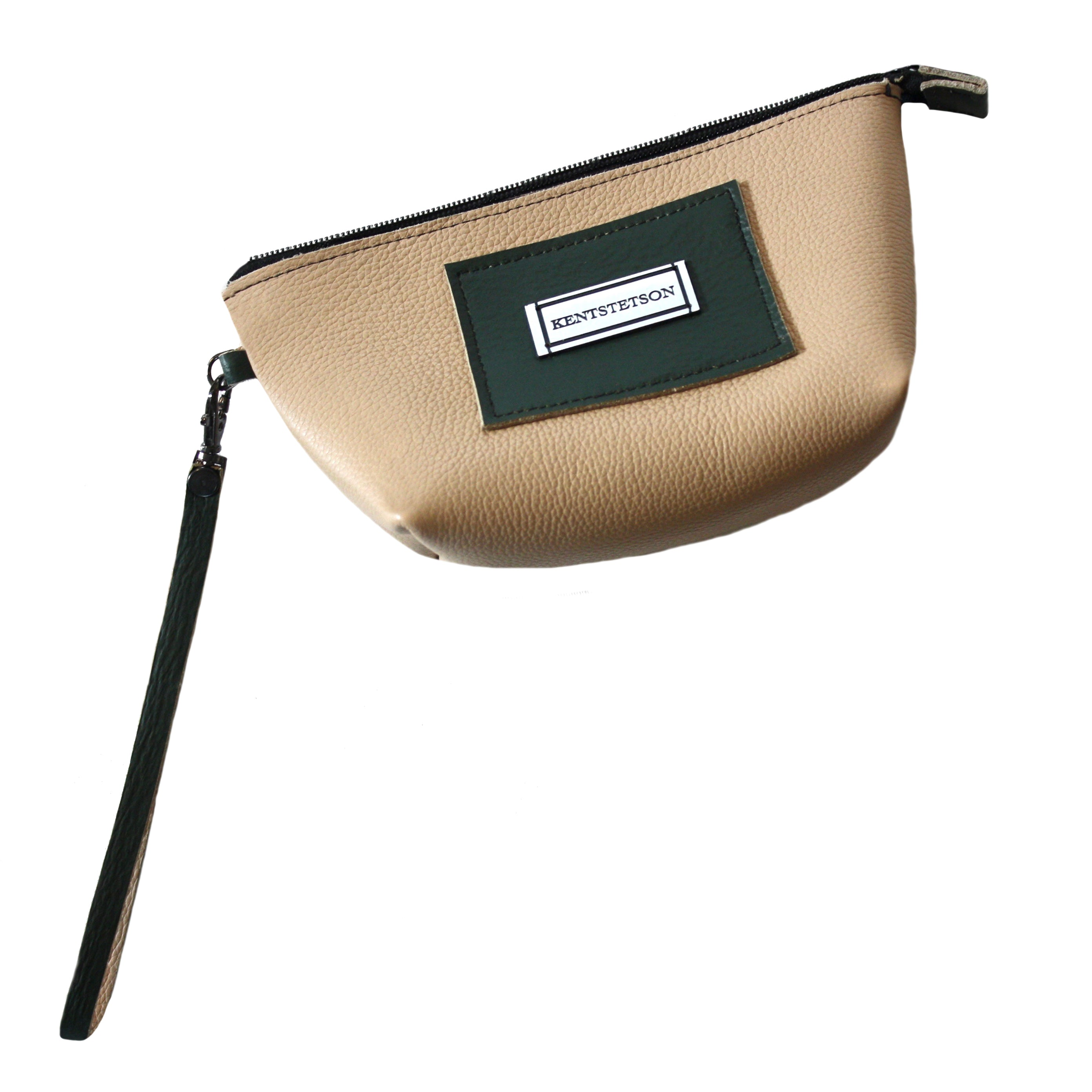 Small Cream & Dark Green Wristlet
