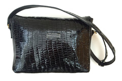 Patent Croco Messenger Bag