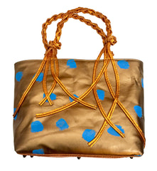 Painted Leather Copper Braided Handle Tote