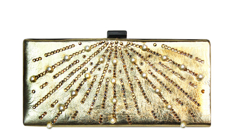 Gold Pearl & Stone Formal Clutch