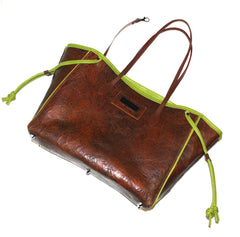 Luxurious Brown & Green Accented Tote