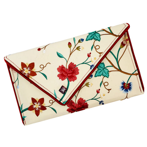 Cream Floral-Embroidered Silk Crossbody Clutch