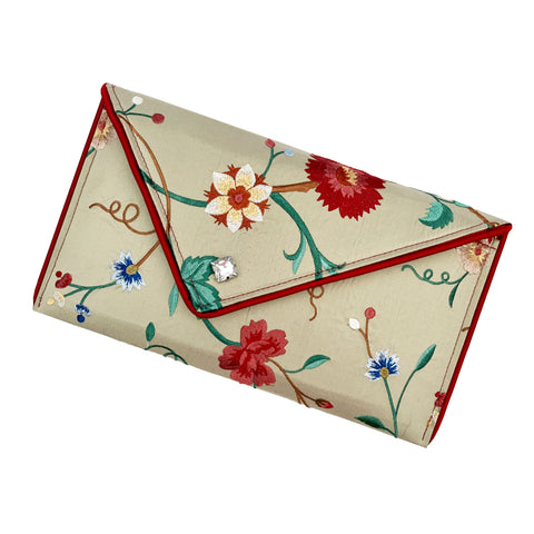 Light Sage Floral-Embroidered Silk Crossbody Clutch