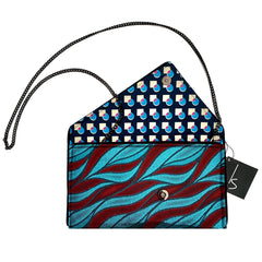 Metallic Wave Fabric Crossbody Clutch