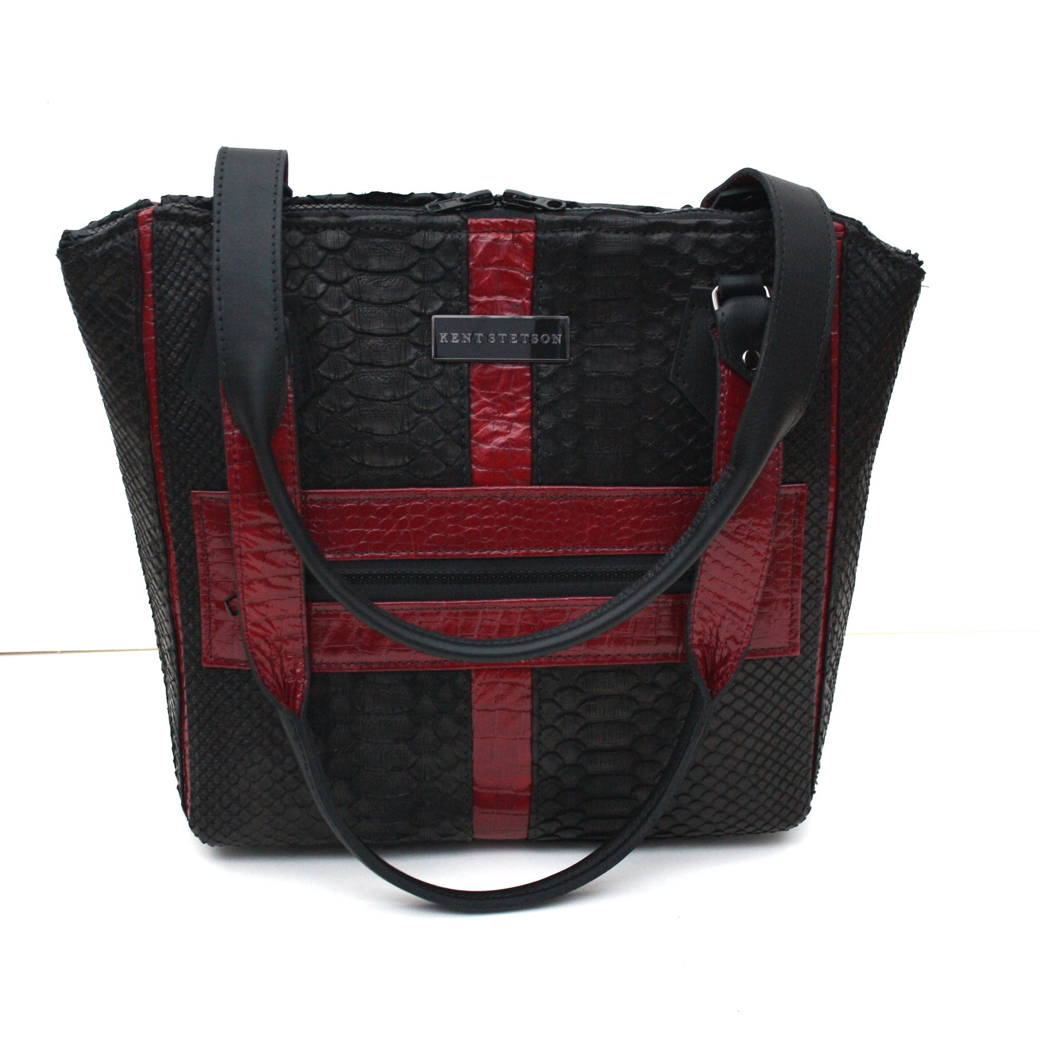 Red & Black Python Tote