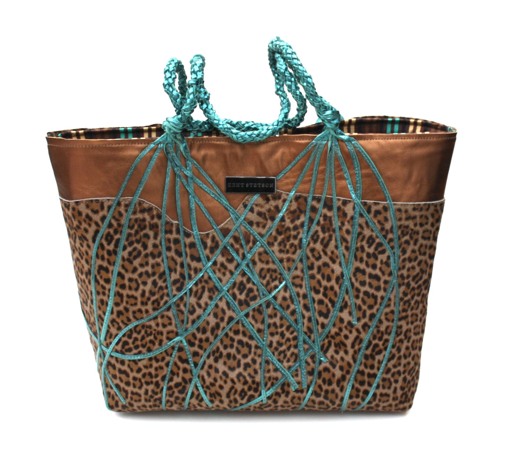 Cheetah & Blue Leather Tote