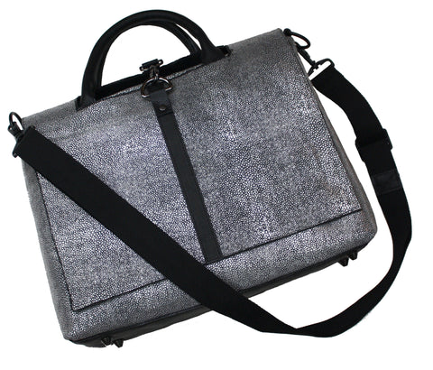 Textured Pewter Messenger Tote