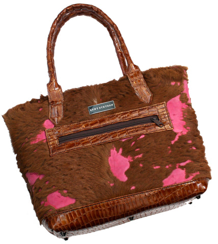 Brown & Pink Calf Hair Tote