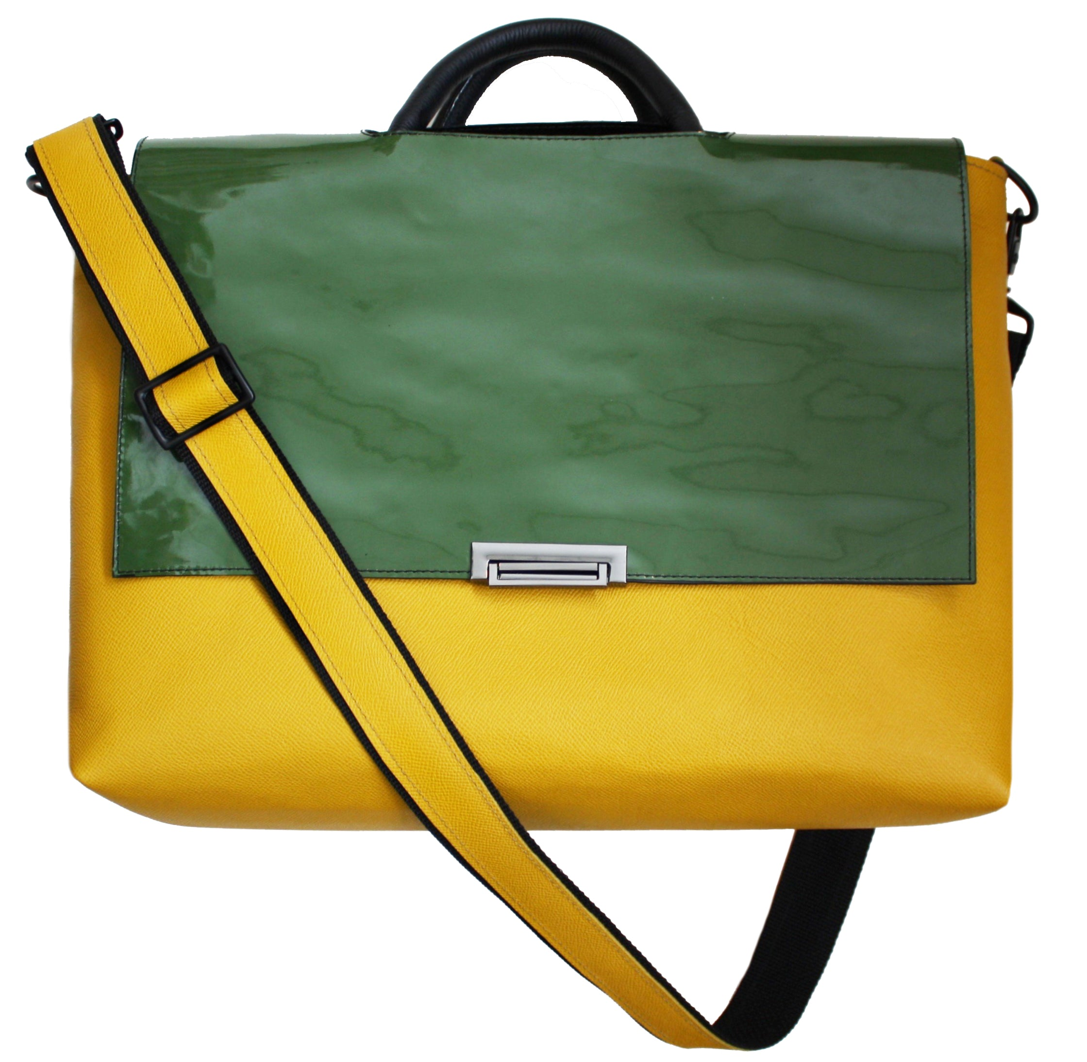 Yellow Ochre and Sage Patent Pebble Grain Messenger Tote