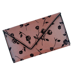 Rose Pattern Iridescent Flocked Satin Crossbody Clutch