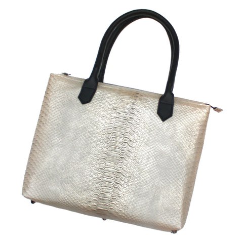 Large Python Embossed Leather Tote