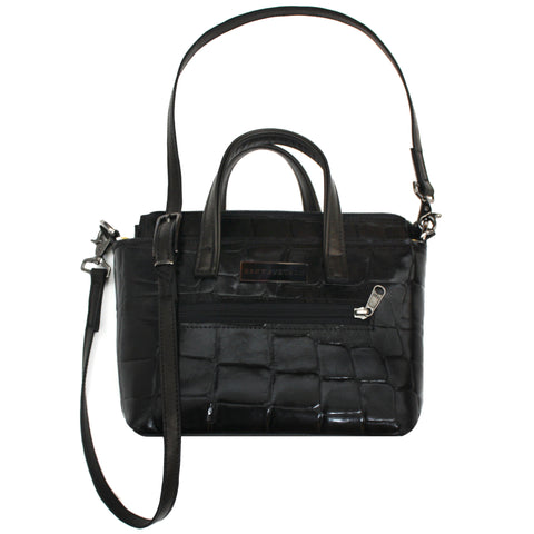 Mini Black Embossed Leather Tote