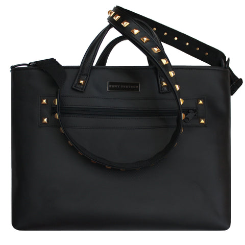Black Leather Unisex Tote