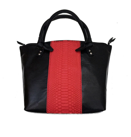 Colorblock Python and Nappa Leather Knot-Handle Tote
