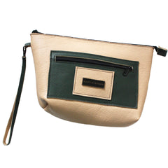 Large Cream & Dark Green Wristlet
