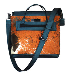 Exotic Patina Calf Hair & Leather Crossbody Tote