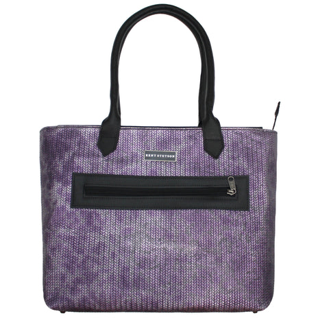 Purple & Silver Basket Weave Tote