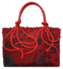 Red Calf Hair Braided Tote