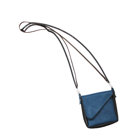 Blue and Black Colorblock Leather Crossbody Pouch