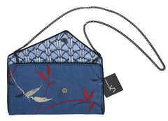 Embroidered Blue Ultrasuede Crossbody Clutch