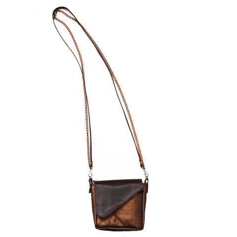 Brown and Bronze Leather Crossbody Pouch
