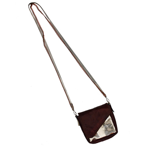 Cognac and light gold crossbody pouch
