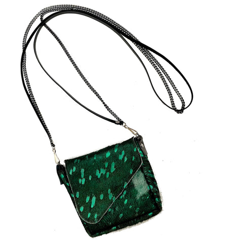 Emerald Calfhair Crossbody Mini Pouch