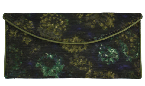 Olive Green Floral Crossbody Clutch
