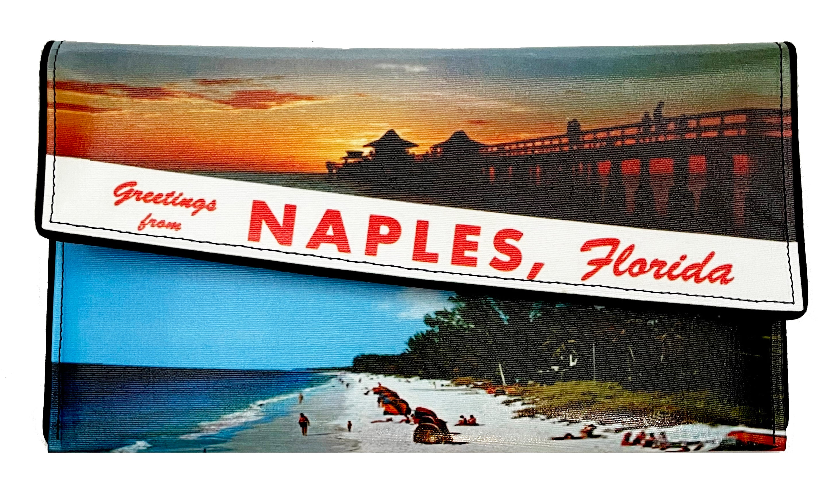 Greetings from Naples Florida Vintage Postcard Crossbody Clutch
