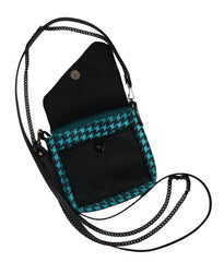 Teal and Black Houndstooth Crossbody Pouch