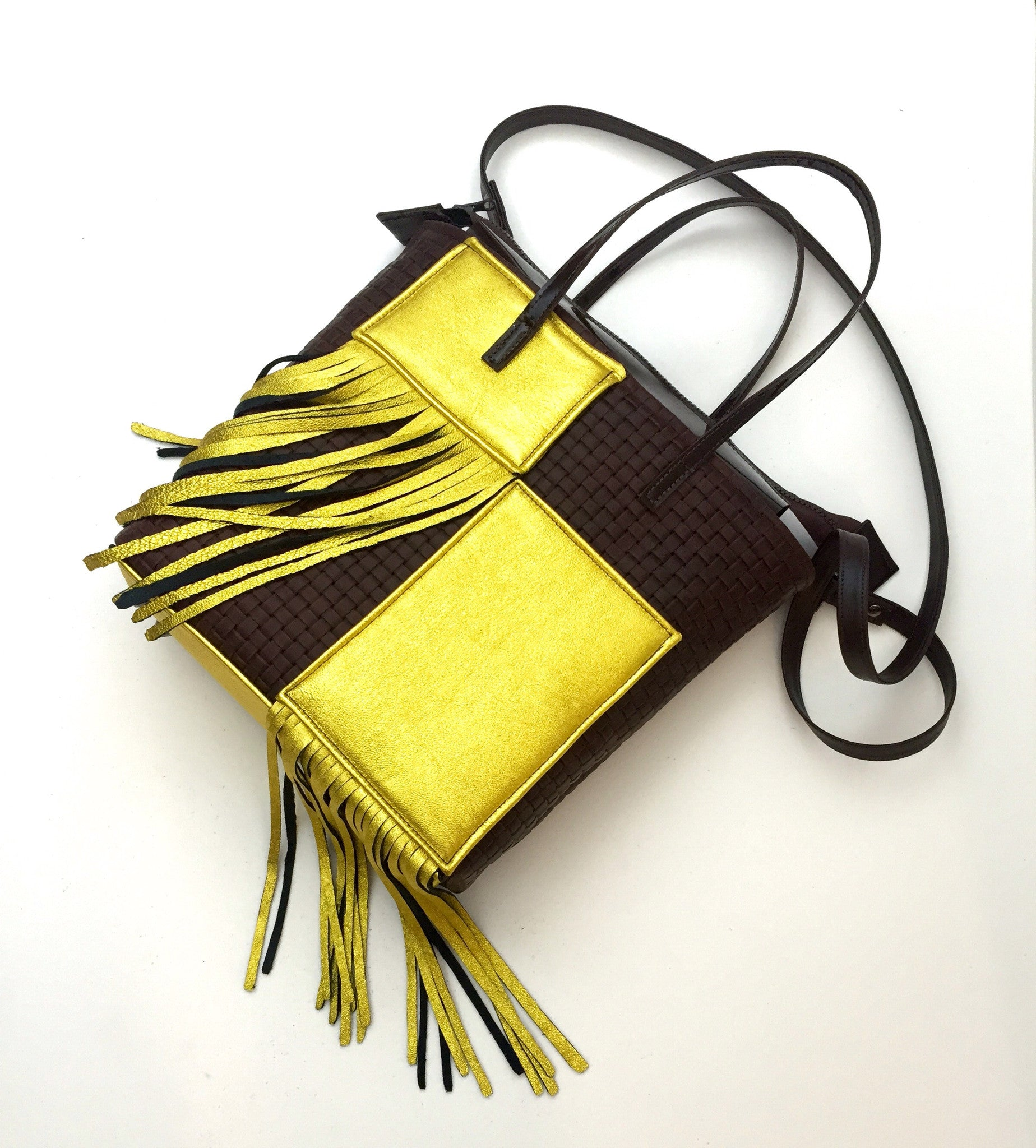 Color Block Fringe North-South Tote