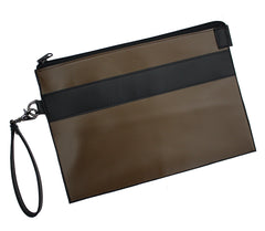 Khaki and Black Colorblock Oversized Portfolio Wristlet