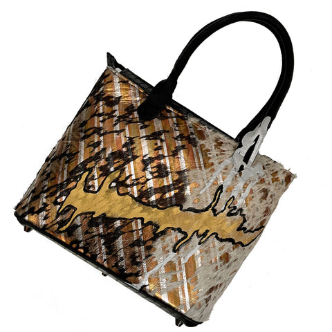 "Metallic Multi-Colored ""Drip"" Medium Tote"
