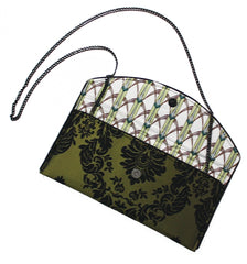 Olive Damask Crossbody Clutch