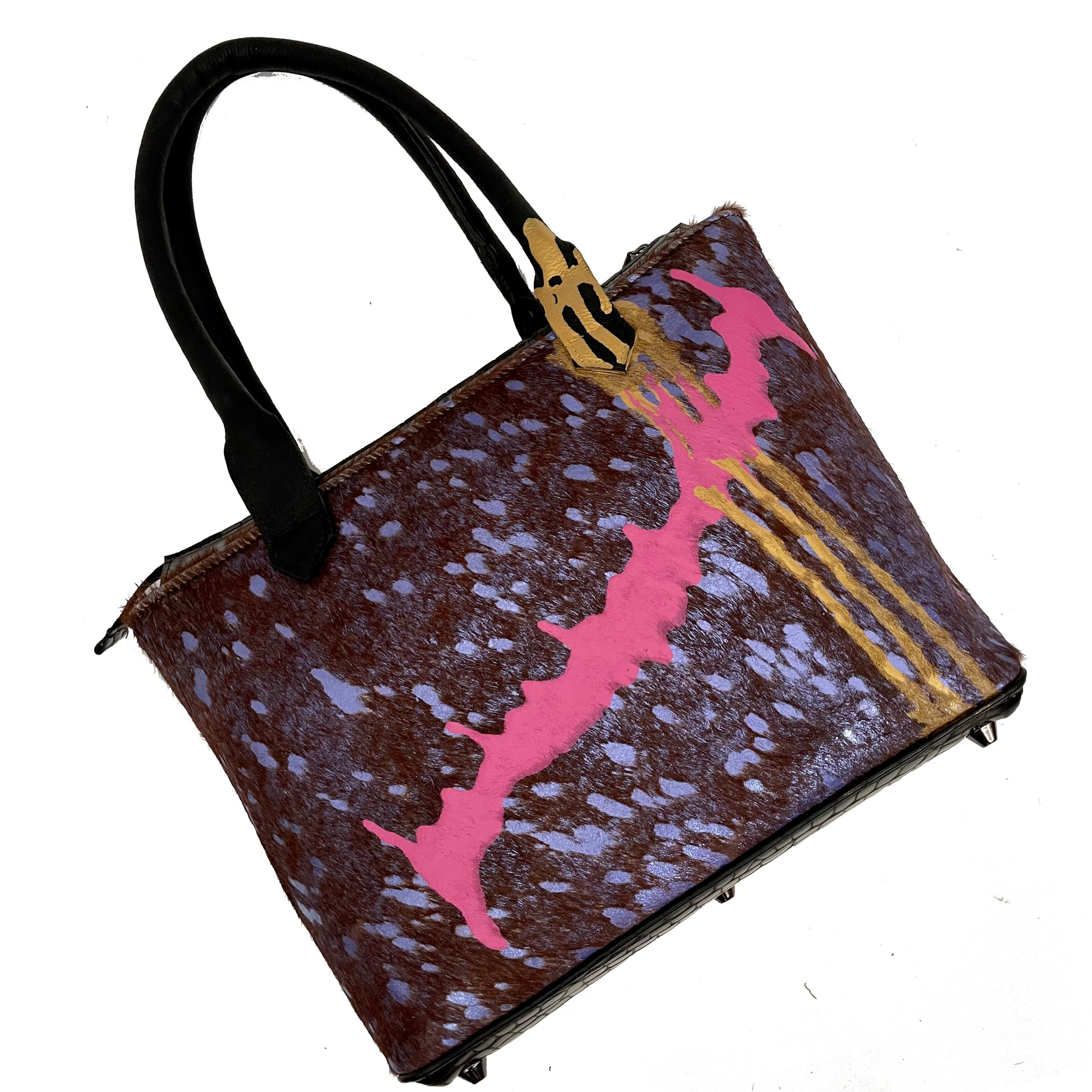 "Purple Multi-Colored ""Drip"" Medium Tote"