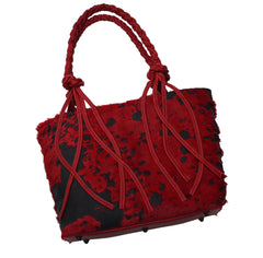 Calf Hair Red Braided Handle Tote