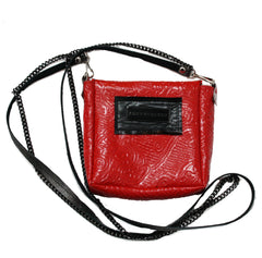 Embossed Red Leather Crossbody Pouch