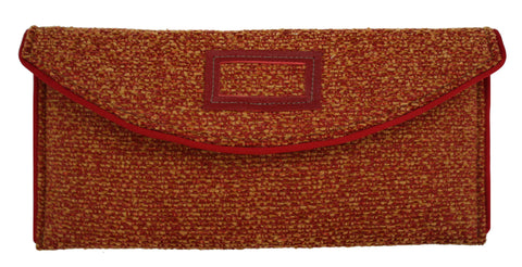 Rust Bouclé Arc Flap Crossbody Clutch