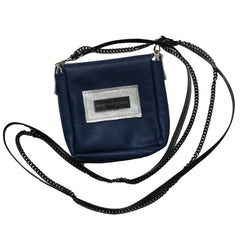Navy and Silver Colorblock Leather Crossbody Pouch