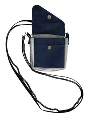 Silver and navy crossbody pouch