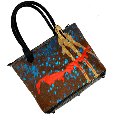 "Teal Multicolor ""Drip"" Medium Tote"
