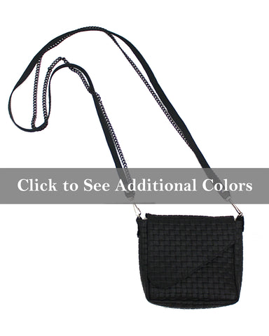 Italian Embossed-Weave Leather Crossbody Pouch