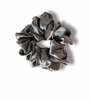 100% Mulberry Silk Scrunchie- FOG GREY