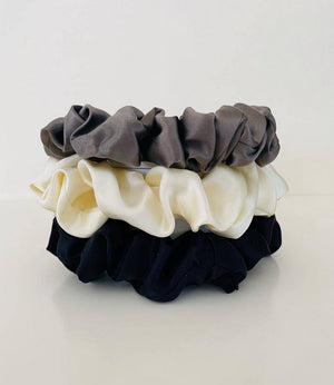 Pewter collection – X3 Silk scrunchies
