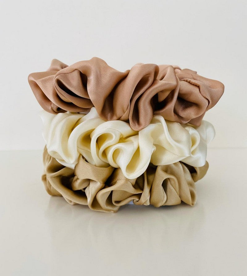 Rose gold collection - X 3 100% Mulberry silk scrunchies