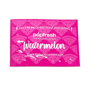 Popfresh watermelon - 25 individually wrapped antibacterial wipes